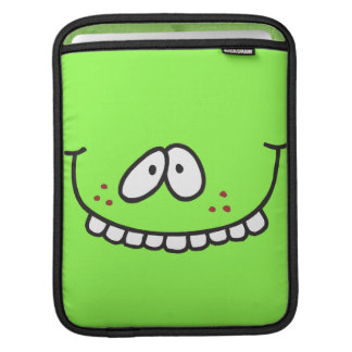 silly toothy grin smiley face on bright green sleeve for iPads