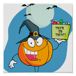silly trick or treat halloween pumpkin character poster