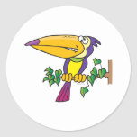 silly tropical toucan cartoon round sticker