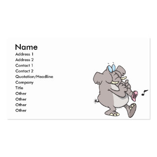 silly trumpet horn elephant tooting trunk business card