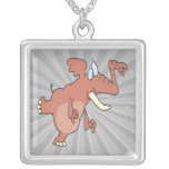 silly trunk pointing elephant personalized necklace