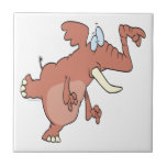 silly trunk pointing elephant tile