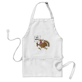 silly turkey with eat beef sign toon aprons