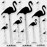 [ Thumbnail: Silly, Unreasonably Tall Flamingo Silhouettes Sticker ]