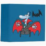 silly vampire and bat cartoon vinyl binder