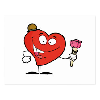 silly vday heart cartoon giving roses postcard
