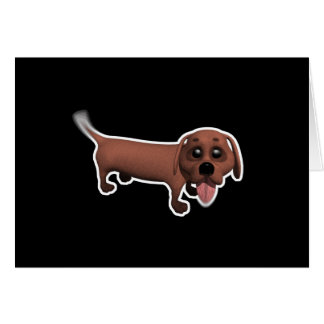 silly wagging tail daschund greeting card