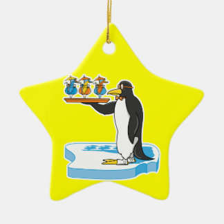 silly waiter penguin ceramic ornament