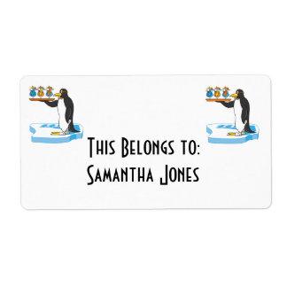 silly waiter penguin label