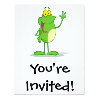 silly waving friendly froggy frog card