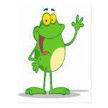 silly waving friendly froggy frog postcard