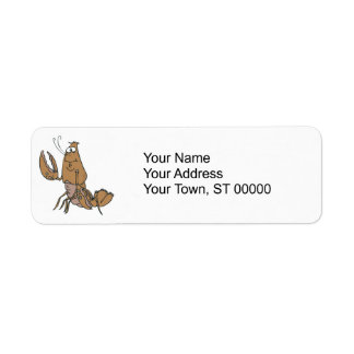 silly waving lobster label