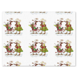 """Silly Whimsey Christmas Mooks 17"""" X 23"""" Tissue Paper"""