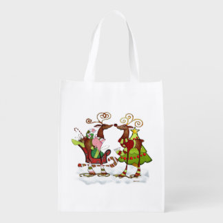 Silly Whimsey Christmas Mooks Grocery Bag