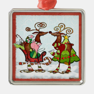 Silly Whimsey Christmas Mooks Square Metal Christmas Ornament