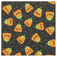Silly Whimsy Halloween Pumpkin on Black Fabric