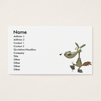silly whistling pony horse cartoon business card