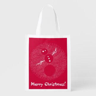 Silly White Snowman Merry Christmas Fun Gift Bag Market Totes