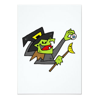silly witch with eyeball & wand invite