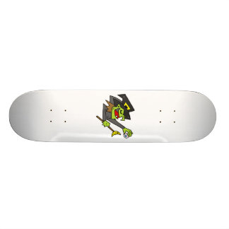 silly witch with eyeball & wand skate board