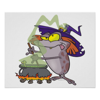 silly witchy witch halloween toad cartoon poster