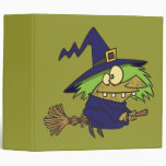 silly witchy witch toad on broomstick 3 ring binder