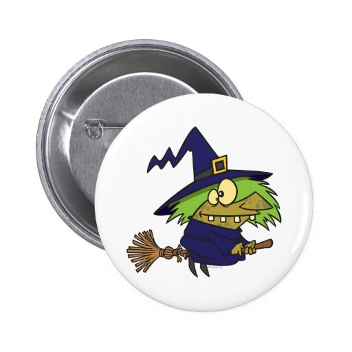 silly witchy witch toad on broomstick pinback buttons