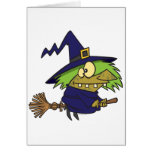 silly witchy witch toad on broomstick greeting card