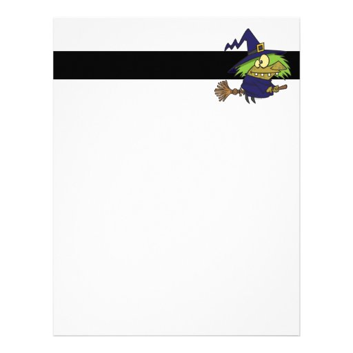 silly witchy witch toad on broomstick customized letterhead