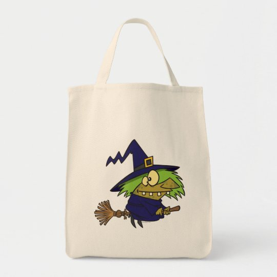 silly witchy witch toad on broomstick tote bag