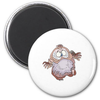 silly wobbly owl 2 inch round magnet
