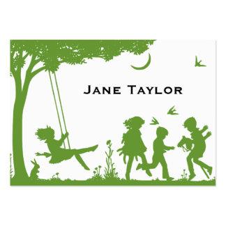 Silouette de los niños tarjetas de visita grandes