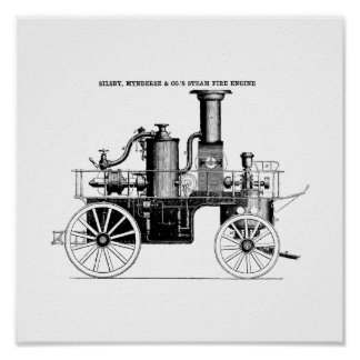 Silsby 1858 Steam Fire Engine Poster