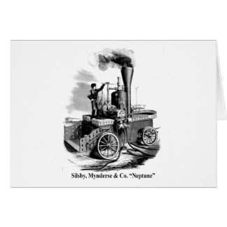 """Silsby Mynderse & Co.  Fire Engine """"Neptune"""" Greeting Card"""