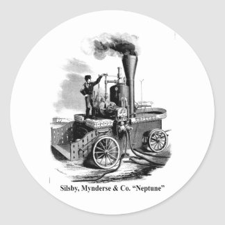 "Silsby Mynderse & Co.  Fire Engine ""Neptune"" Classic Round Sticker"