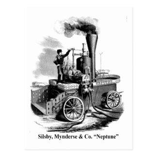 """Silsby Mynderse y coche de bomberos """"Neptuno """" del Tarjeta Postal"""