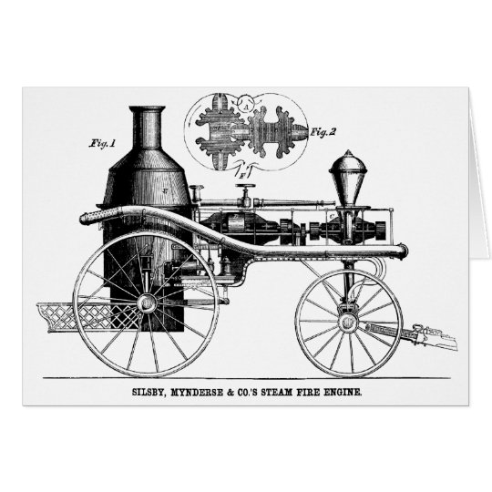Silsby Rotary Steam Fire Engine Card