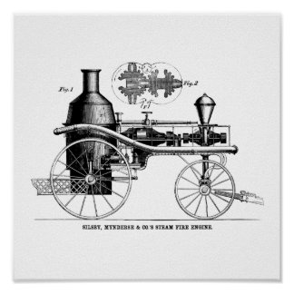 Silsby Rotary Steam Fire Engine Print