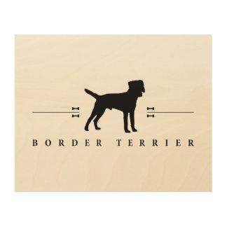 Silueta -1- de Terrier de frontera Cuadro De Madera