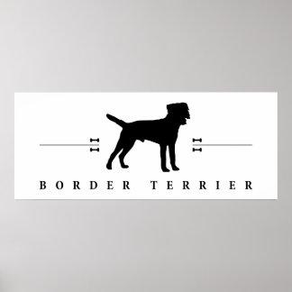 Silueta -1- de Terrier de frontera Póster