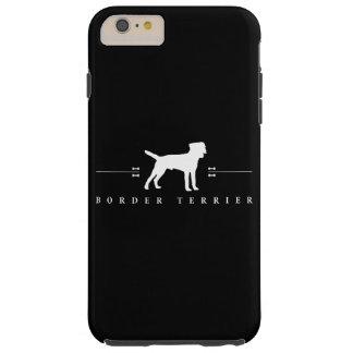 Silueta -2- de Terrier de frontera Funda De iPhone 6 Plus Tough
