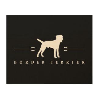 Silueta -2- de Terrier de frontera Impresiones En Madera
