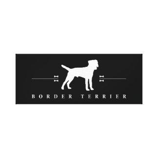 Silueta -2- de Terrier de frontera Impresión En Lona