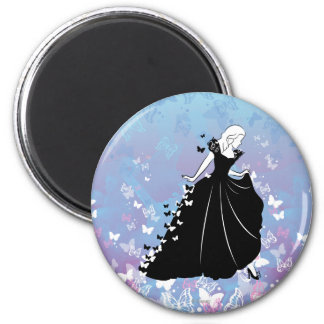 Silueta 2 del vestido de la mariposa de Cenicienta Imán Redondo 5 Cm
