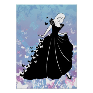 Silueta 2 del vestido de la mariposa de Cenicienta Póster