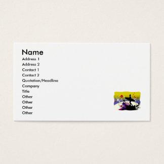 Silueta abstracta de la persona que practica surf tarjetas de visita