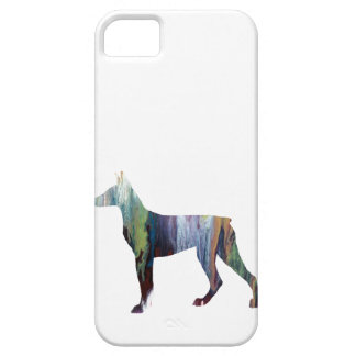 Silueta abstracta del Doberman iPhone 5 Carcasas