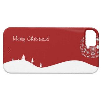 Silueta abstracta del navidad rojo y blanco iPhone 5 Case-Mate protectores