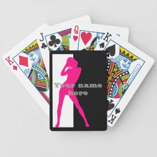 Silueta adulta rosada del chica de baile baraja