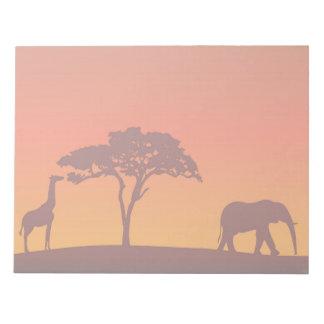 Silueta africana del safari - libreta libretas para notas